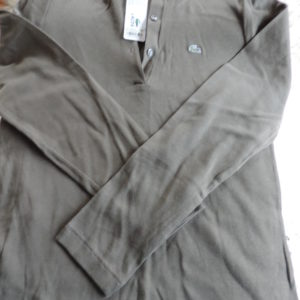 Lacoste Cotton Long Sleeve Olive Green Shirt 3 Button Front NWT Size 46/14