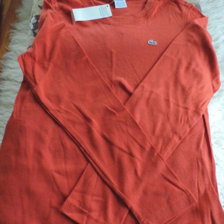 Lacoste Cotton Long Sleeve Burnt Orange Shirt Scoop Neck NWT Size 46/14