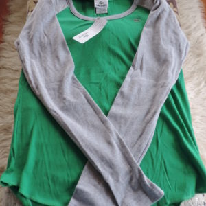 Lacoste Cotton Long Sleeve 2-tone Shirt Scoop Neck Gray & Green NWT Size 46/14