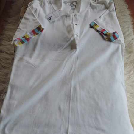 Lacoste Cotton White Shirt, Stripes On Sleeves, 3 Snaps On Front NWT Size 46/14