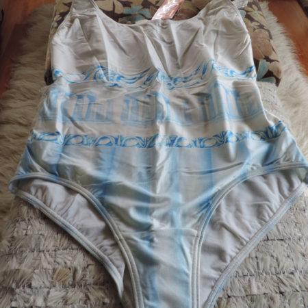Escada One Piece Blue & White Bathing Suit NEW Size 44/10