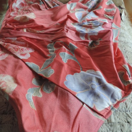 La Perla One Piece Dusty Rose Floral Bathing Suit Sequin Trim NEW Size 50/16