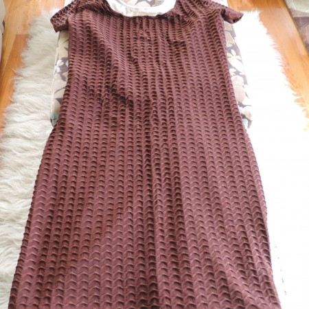 Gottex Textured Swim Dress Cover-up Chocolate Brown W/cream Trim Size L Vintage