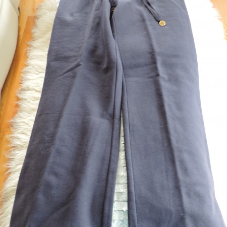 Tory Burch Navy Blue Fleece Lined Drawstring Pants NWT Size L