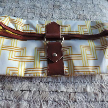 """Le Sport Sac REMIX  Leather & Nylon """"GOA"""" Yellow/White Print Fold Over Clutch"""