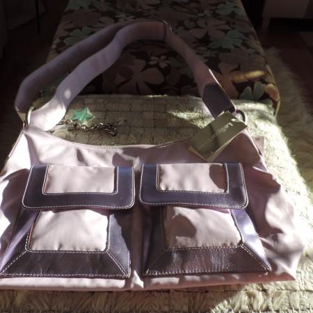 "Le Sport Sac REMIX  Leather & Nylon  ""Phazer"" Moonbeam Color Bag NEW"