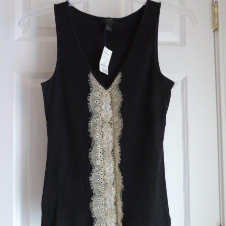 Black Ribbed Tank Top With Gold Lace, Pearls & Beading Down The Center NWT Size L