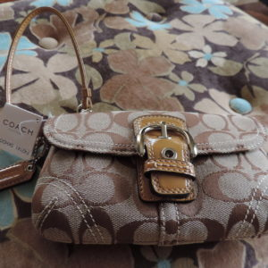 Coach Soho Signature Wristlet NWT Khaki/Doe Color NWT