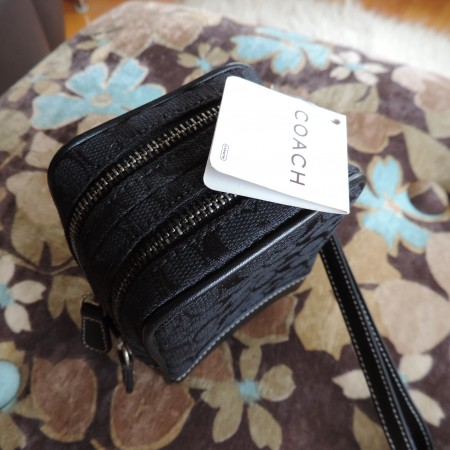 Coach Signature Mini Utility Case  Wristlet Black Fabric/Black Leather Trim NWT