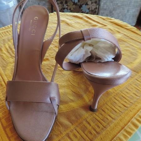 Gucci Dusty Pink Satin Evening Sandal Shoes NWB/R/Storage Bag Size 9 1/2