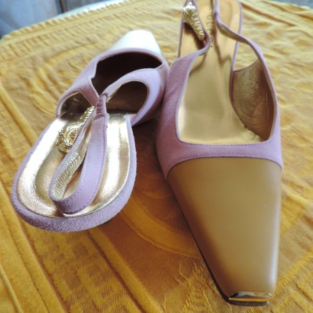 Gucci Tan Leather, Gold Toe Cap, Lavender Suede, Sling Back Pumps Size 9 NEW