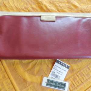 Bloom Handmade Clutch – Burgundy Leather/Cream Suede NWR
