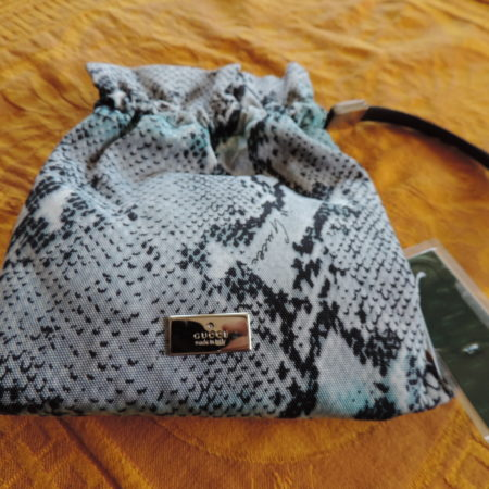 Gucci Light Turquoise & Black Snake Print Drawstring Pouch NWT