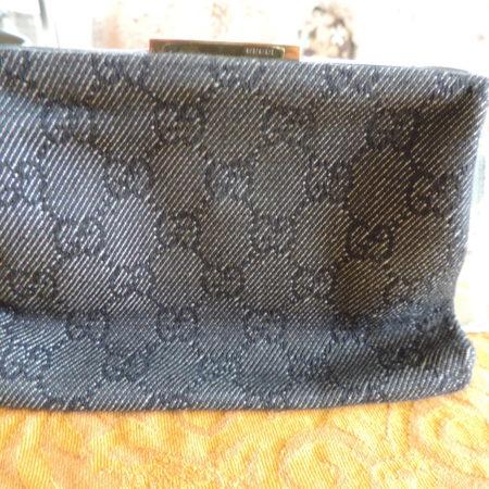 Gucci Navy Denim GG Fabric Small Purse W/mirror NEW