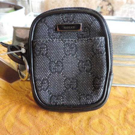 Gucci Navy Denim GG Small Case W/ Black Leather Trim NWT