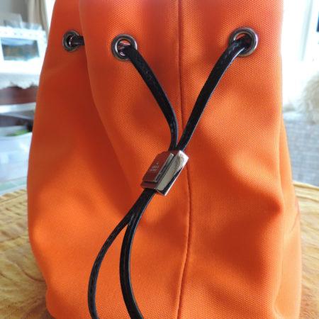 Gucci Orange Fabric/Black Patent Leather Trim Drawstring Pouch NEW