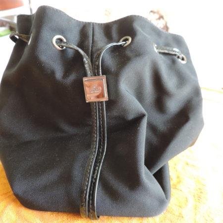 Gucci Black Fabric/Black Patent Leather Trim Drawstring Pouch NEW