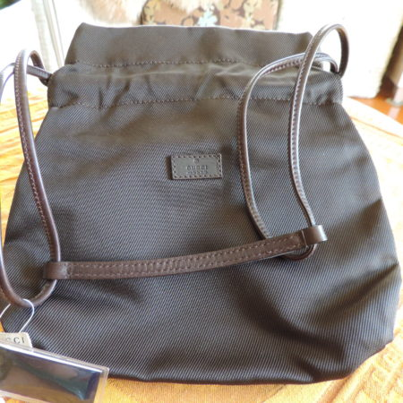 Gucci Brown Fabric Drawstring Pouch W/ Brown Leather Trim & Handles NWT