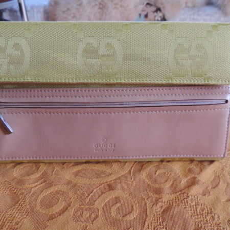Gucci GG's Lime Green Fabric Wallet W/ Tan Leather NEW