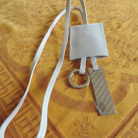 Gucci White Leather Key Fob NEW