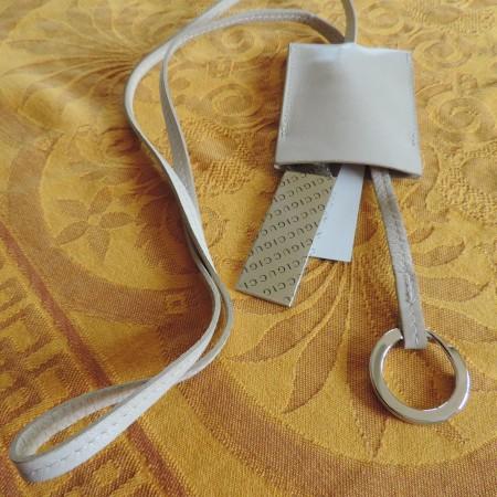 Gucci Cream Leather Key Fob NEW