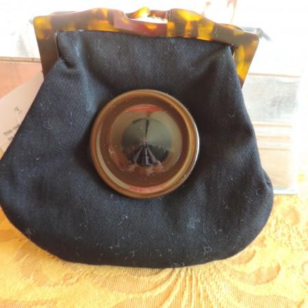 Marni Pouch Black Fabric W/tortoise Trim NWT