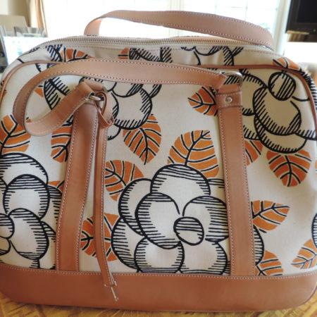 Marni Handbag Floral Canvas & Tan Leather W/ Lock & Key NWT