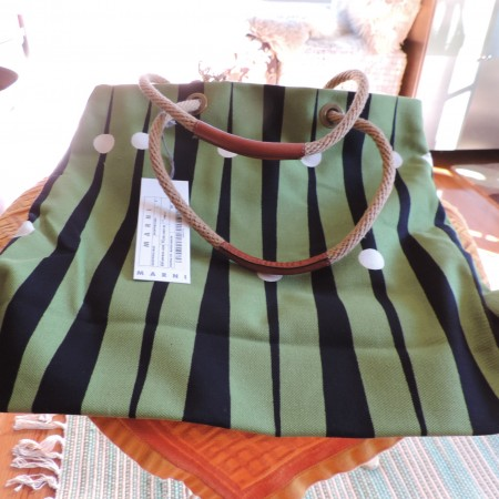 Marni Bag Leather Bottom W/ Leather & Rope Handles, Canvas Body NWT