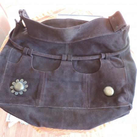 Marni Handbag (large) Chocolate Brown Suede Studded Metal Design On Each Side