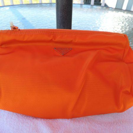 Prada Orange Cosmetic Bag/clutch NWT/ID Card