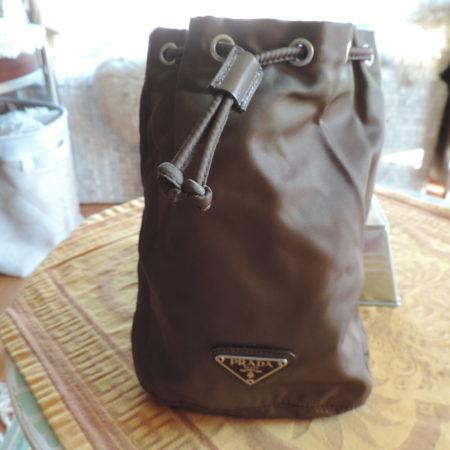 Prada Brown (terra) (vela) Nylon Drawstring Bag NW/IDcard