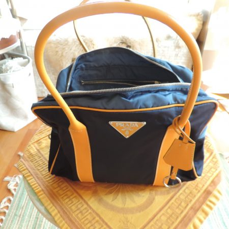 Prada Cobalt Blue Nylon Bag (tessuto Hydra) W/ Yellow Leather Handles & Accents NWT