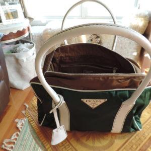 Prada Emerald & Chocloate Brown Nylon Bag (tessuto Hydra) W/white Leather Handles & Accents