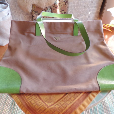 Prada Tote Linen & Green Leather (corda & Mela)  NW/ID Card
