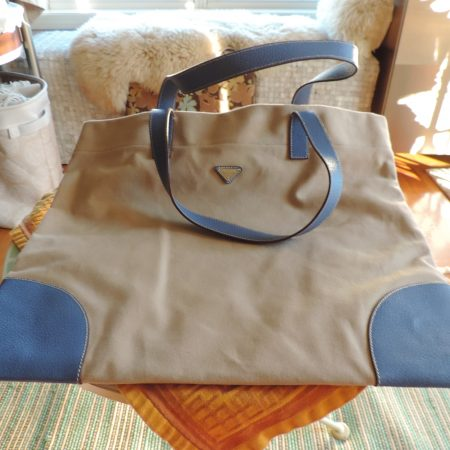 Prada Tote Linen & Blue Leather NEW