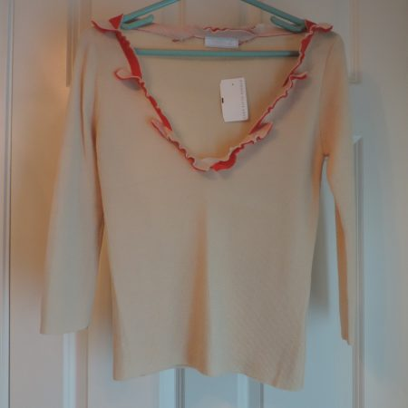 Prada Sweater Cream W/deep V Of Orange Ruffles On Neckline — Size 46/14 NWT