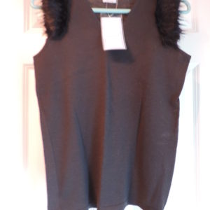 Trussardi Tank Black V-neck W/faux Fur On Sleeve Edges Size Medium NWT