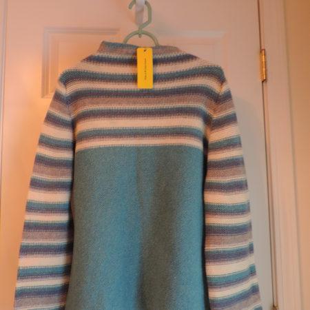 LLuis Genero Sweater Mock Turtleneck,turq, Blue, White & Grey,  Size L NWT