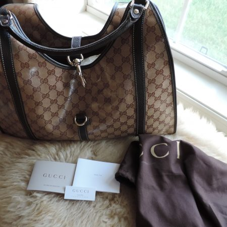 Gucci HandBag NEW Coated Vinyl G's With Leather Trim